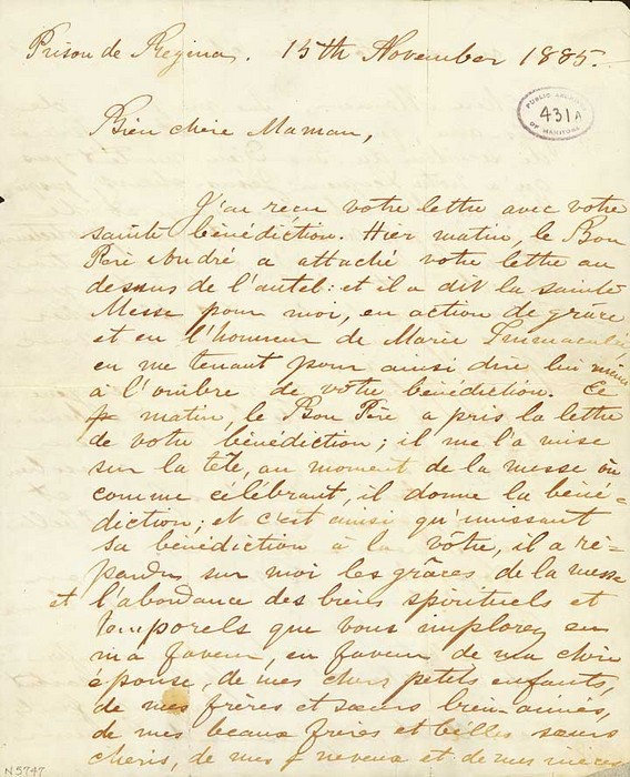 Letter from Louis Riel to his mother, written the day before his execution. (ASHSB, Fonds Louis, Ref. 1092-431)