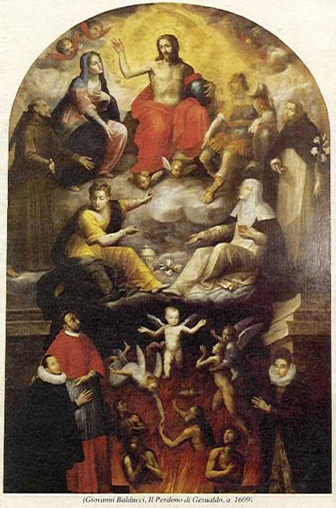 Il perdono di Gesualdo (Giovanni Balducci, 1609). The composer is kneeling, at the bottom right, in front of his uncles Saint Charles Borromée, who is wearing a cardinal's robe.