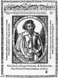 Black and white portrait of Michael Praetorius
