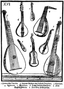Theorbo and instruments of the guitar/lute family.