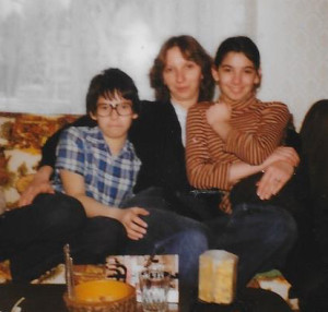 Andrew (on the left) with his sisters Shelagh (centre) and Alison.